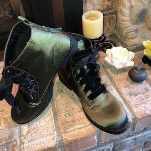 Dirty Laundry Combat Boot, Green Satin, Women 9.5